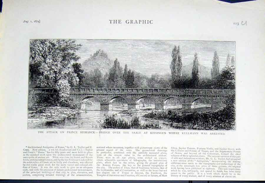 Print Bridge Over Salle At Kissingen 1874 Germany 13Ubbb1 Old Original