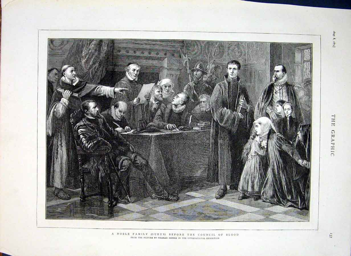 Print Noble Family Before Council Blood By Soubre 1874 37Bbb1 Old Original