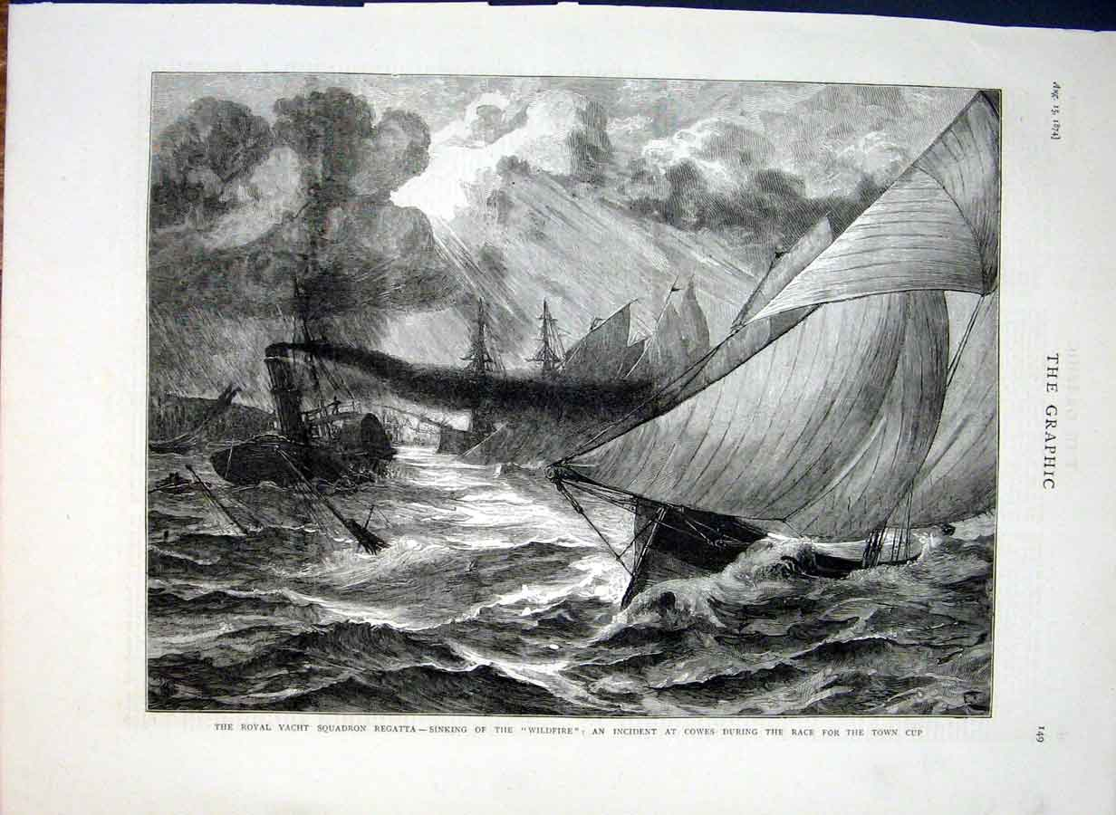 Print Sinking Wildfire At Cowes 1874 Ship Sa 49Bbb1 Old Original