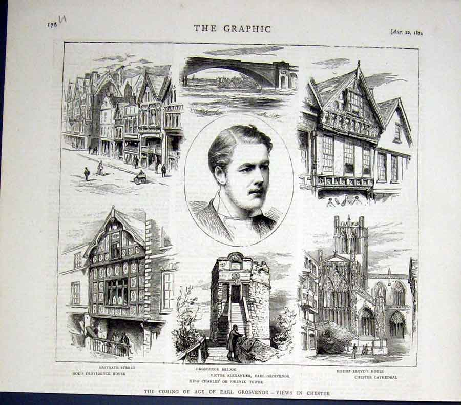 Print Chester Views Coming Age Earl Grosvenor 1874 76Ubbb1 Old Original