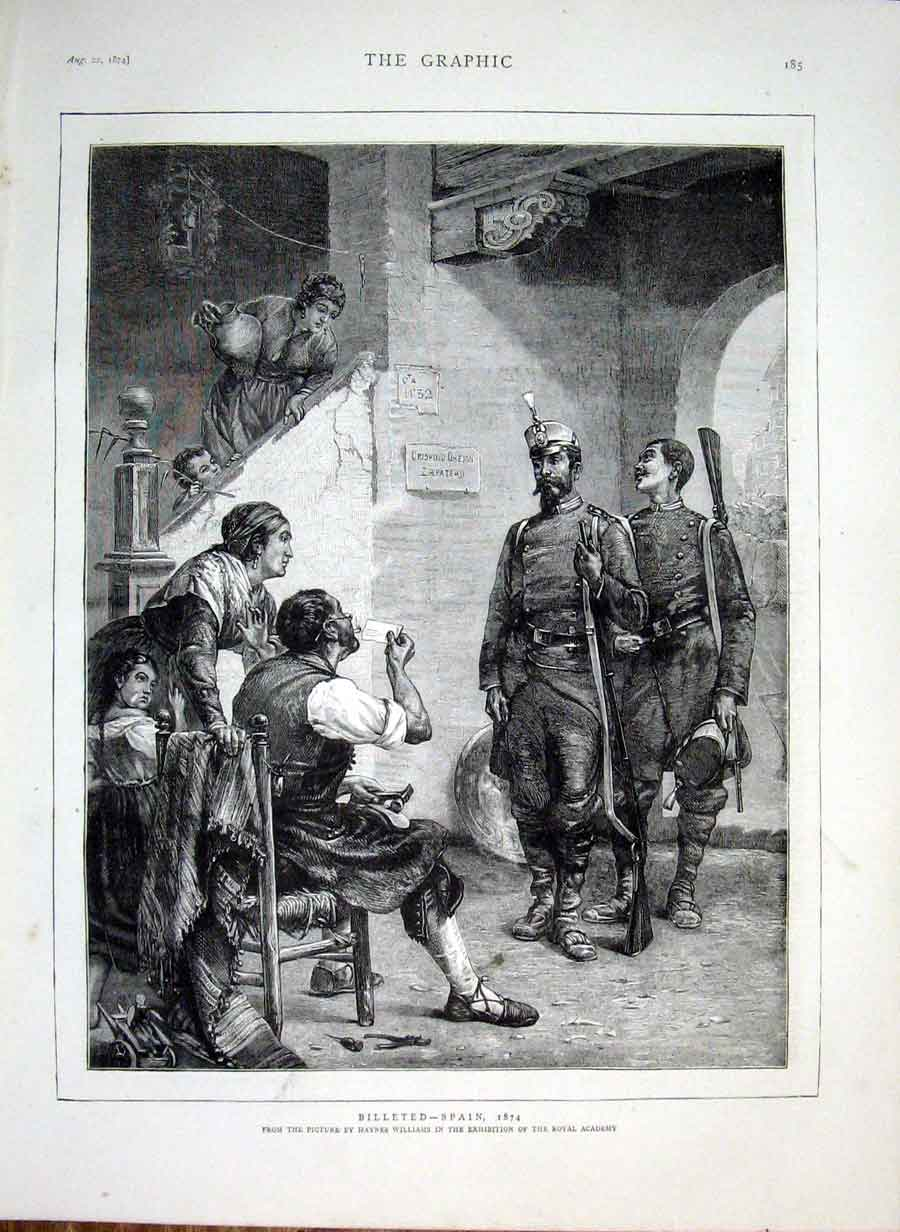 Print Billeted-Spain By Williams Fine Art 1874 85Bbb1 Old Original