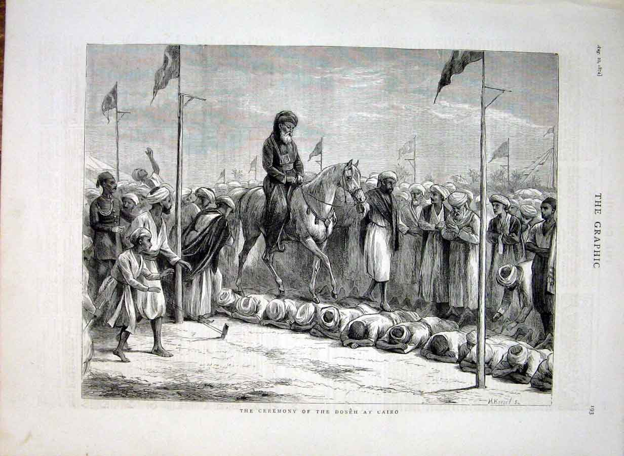 Print Ceremony The Doseh Cairo Egypt 1874 93Bbb1 Old Original