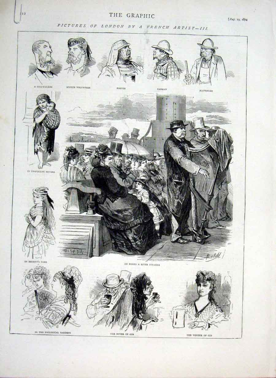 Print Pictures London By French Artist 1874 12Abbb1 Old Original