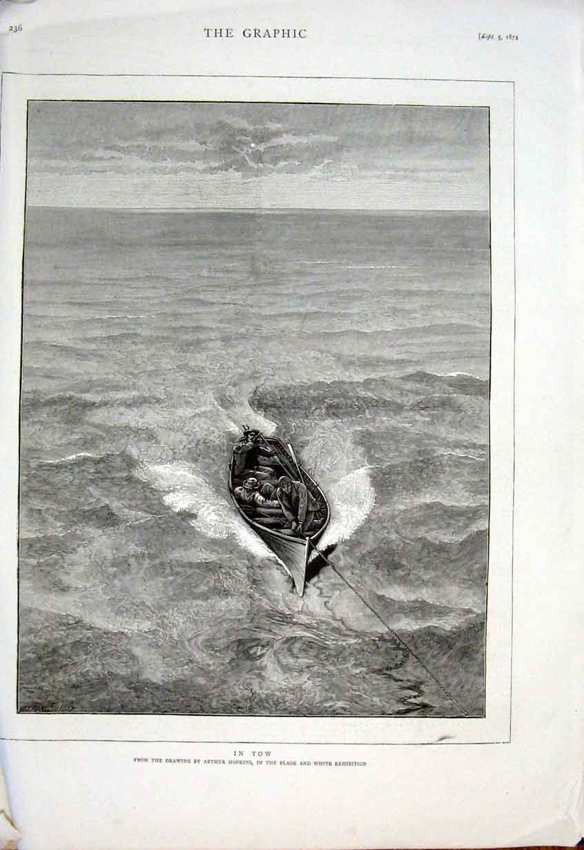 Print Dingy In Tow By Hopkins Fine Art 1874 36Bbb1 Old Original