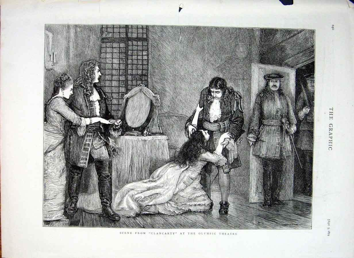 Print Scene From Clancarty At O;Ympic Theatre 1874 40Bbb1 Old Original