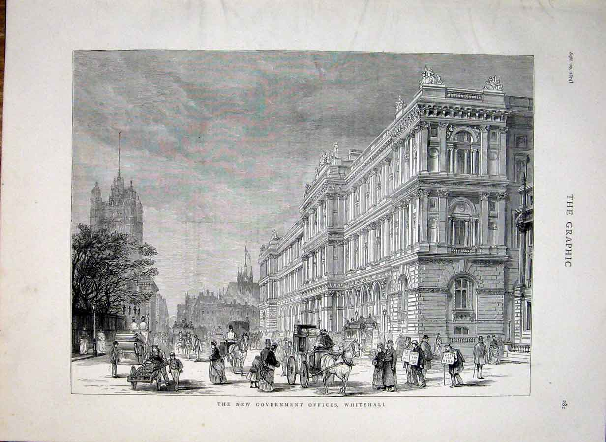 Print New Government Offices Whitehall London 1874 81Bbb1 Old Original