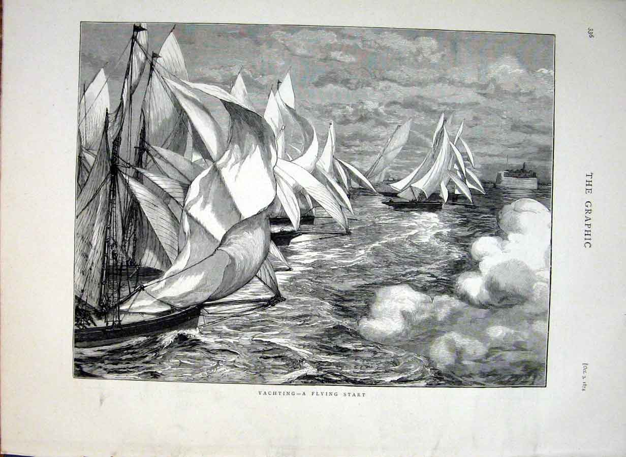 [Print Yachting 1874 A Flying Start 36Bbb1 Old Original]