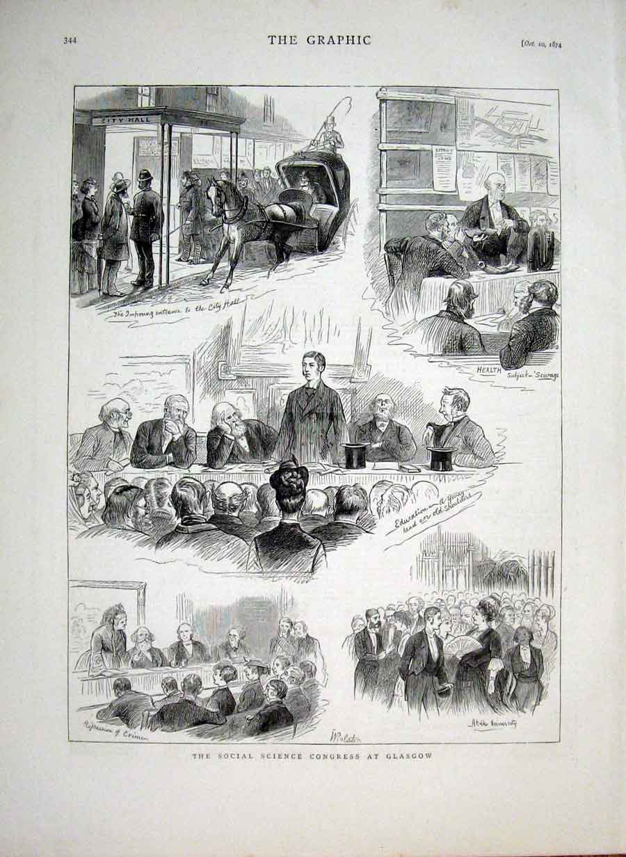 [Print Social Science Congress Glasgow 1874 44Bbb1 Old Original]