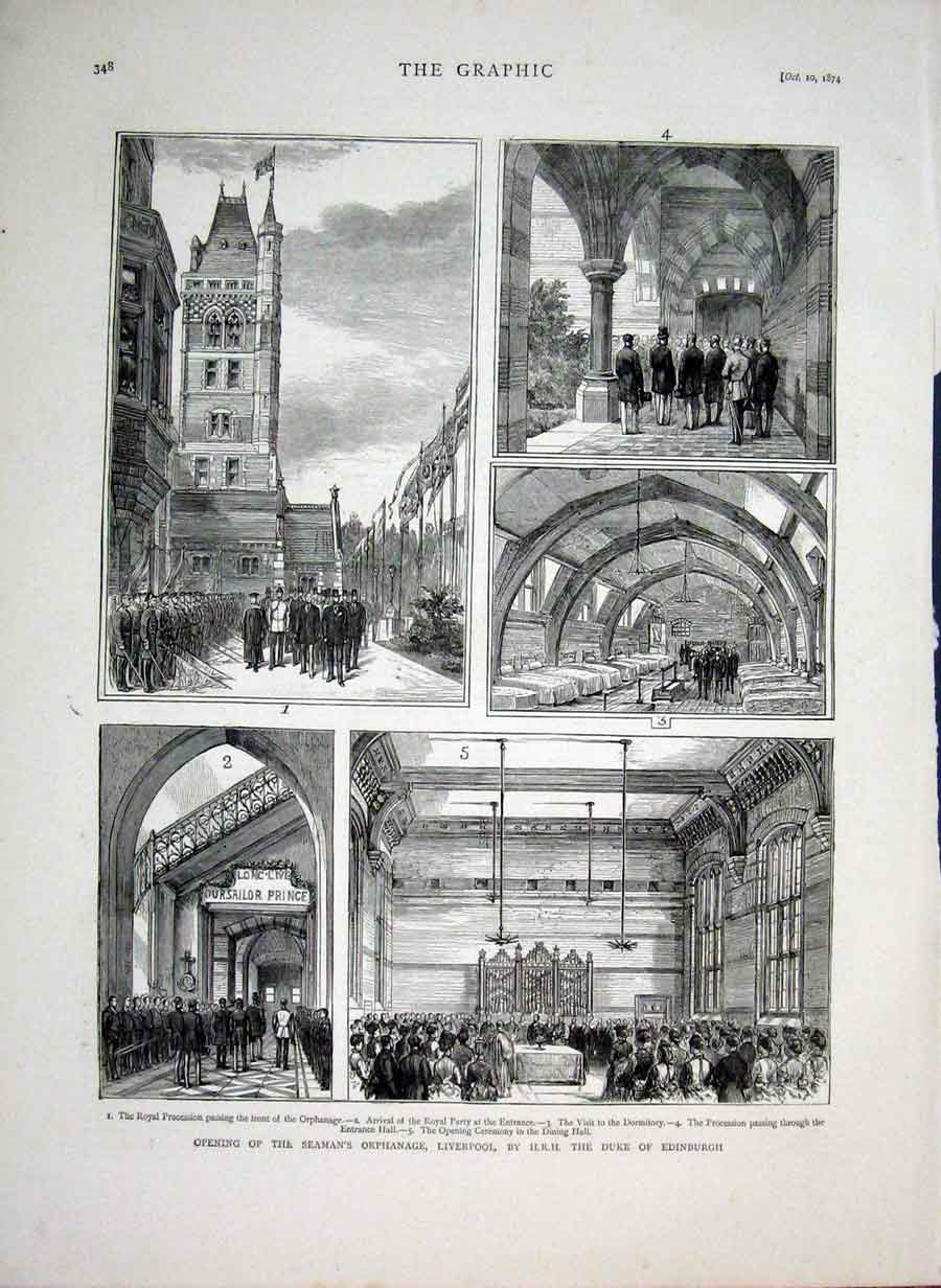 [Print Opening Seamens Orphanage Liverpool 1874 48Bbb1 Old Original]