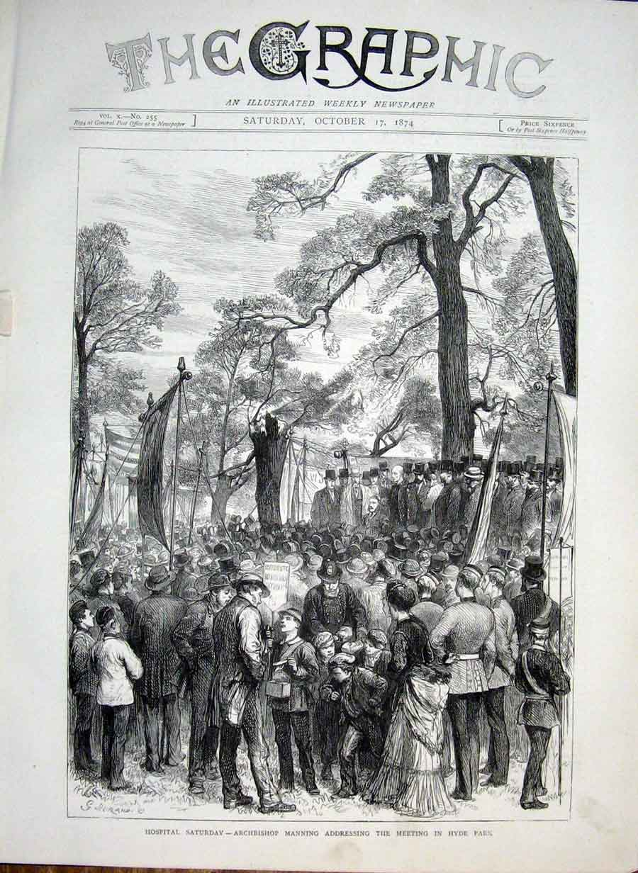 [Print Archbishop Manning Adressing Meeting Hyde Park 1874 66Bbb1 Old Original]