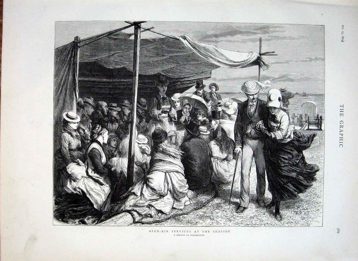 [Print Open Air Services At Sea Side 1874 69Bbb1 Old Original]