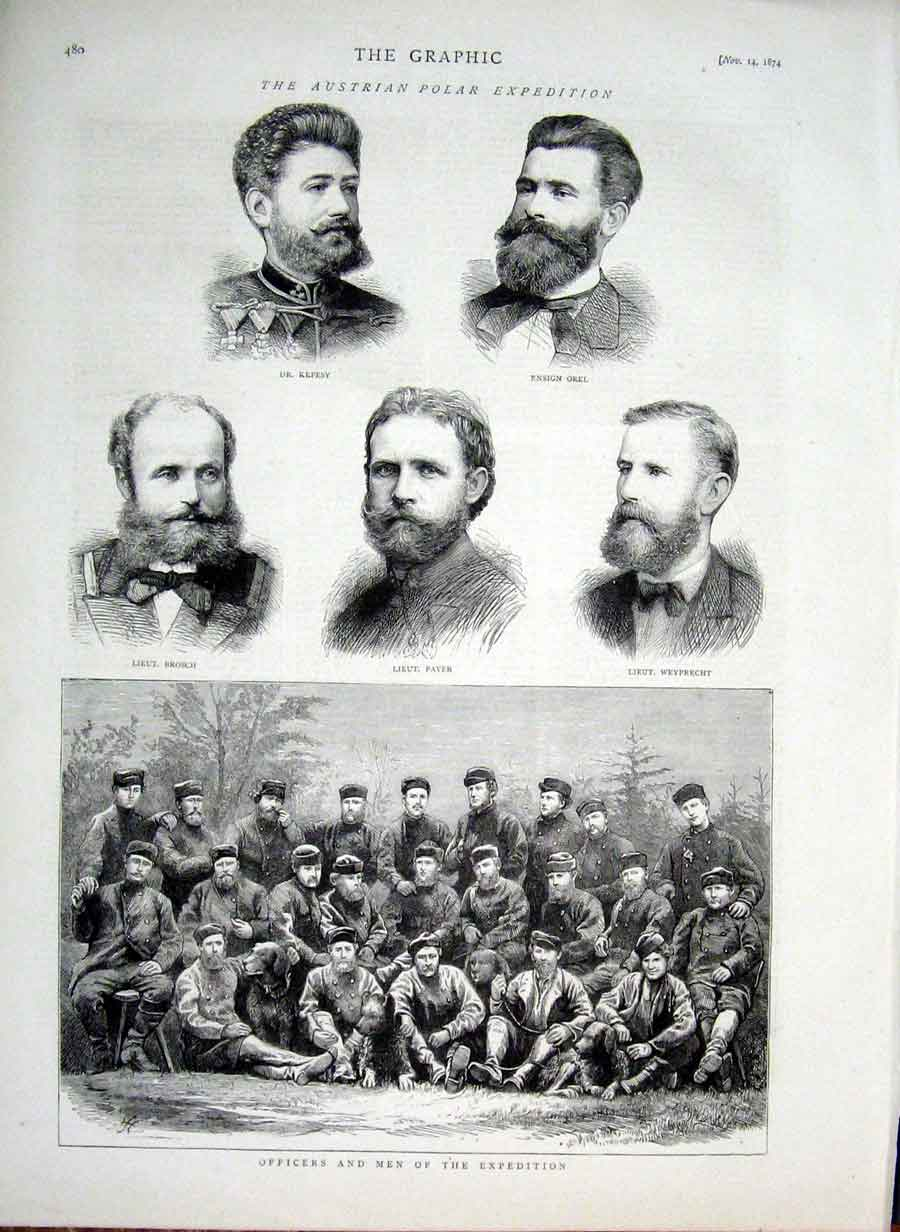 Print Austrian Polar Exped Officers & Men 1874 80Bbb1 Old Original
