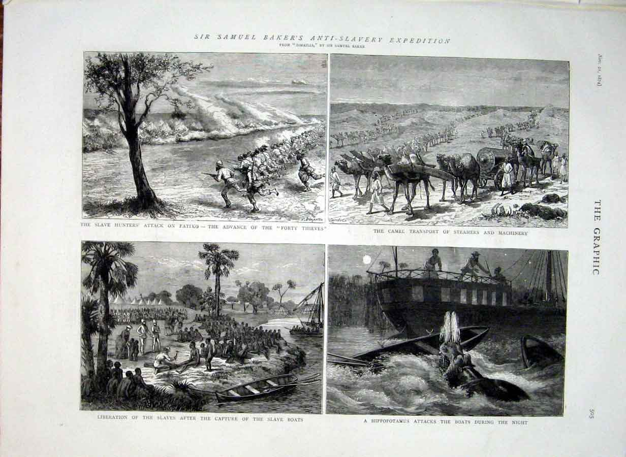 Print Samuel Bakers Anti Slave Expedition 1874 05Bbb1 Old Original