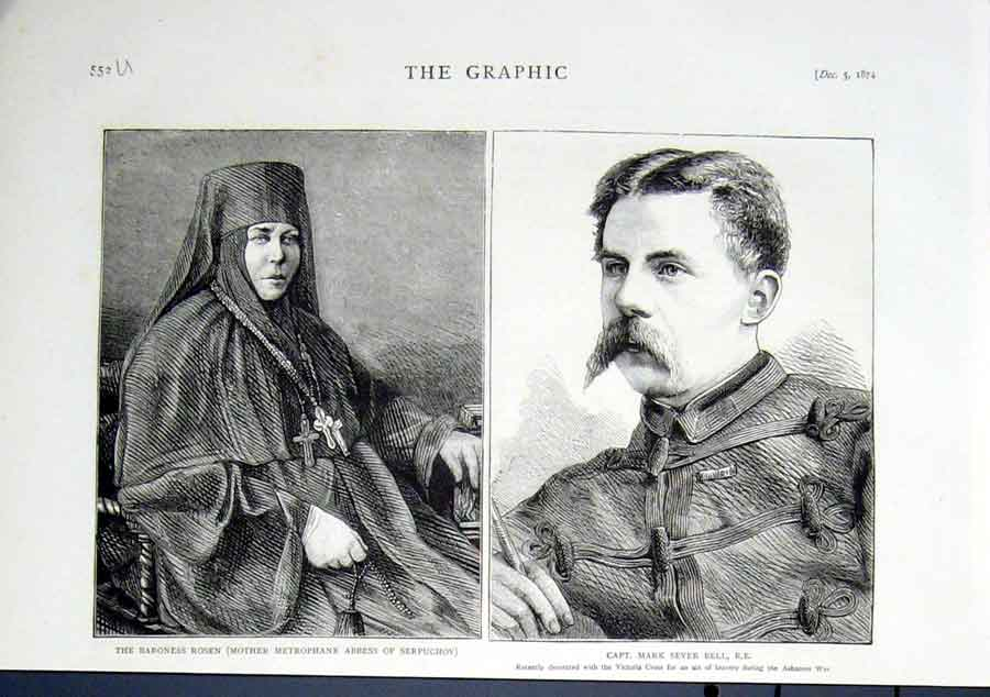 Print 1874 Capt Mark Sever Bell V.C. & Abbess Of Serpuchov 52Ubbb1 Old Original