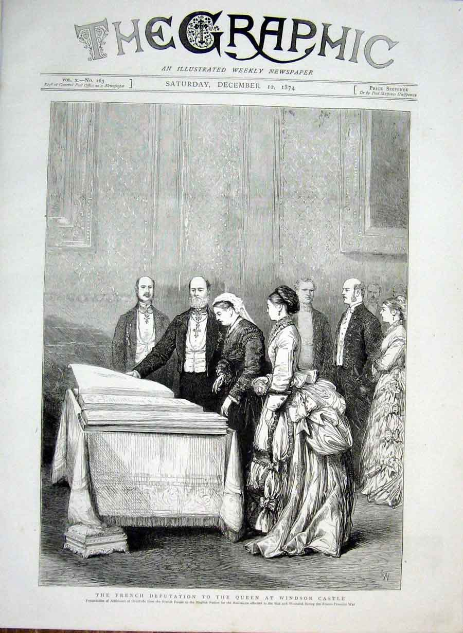 Print French Deputation To Queen At Windsor Castle 1874 58Bbb1 Old Original