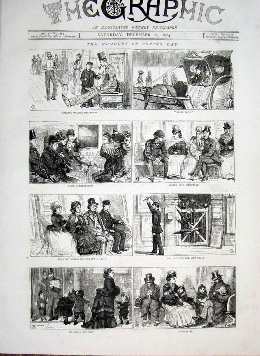 Print Humours Boxing Day 1874 06Bbb1 Old Original