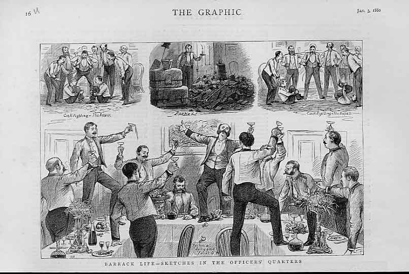 Print Barrack Life Officers Quarters 1880 16Ubbb1 Old Original
