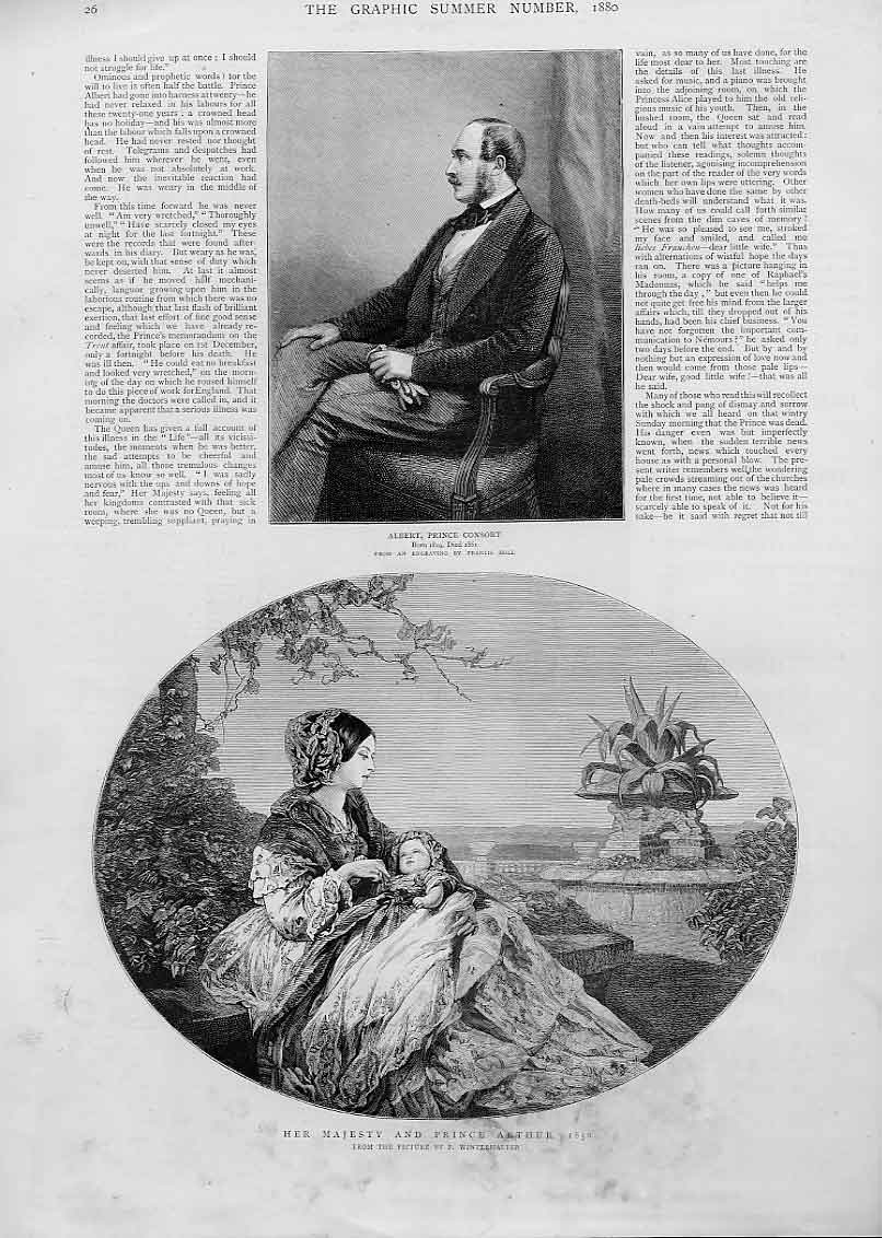 Print Albert Prince Consort Queen With Prince Arthur 1850 26Bbb1 Old Original