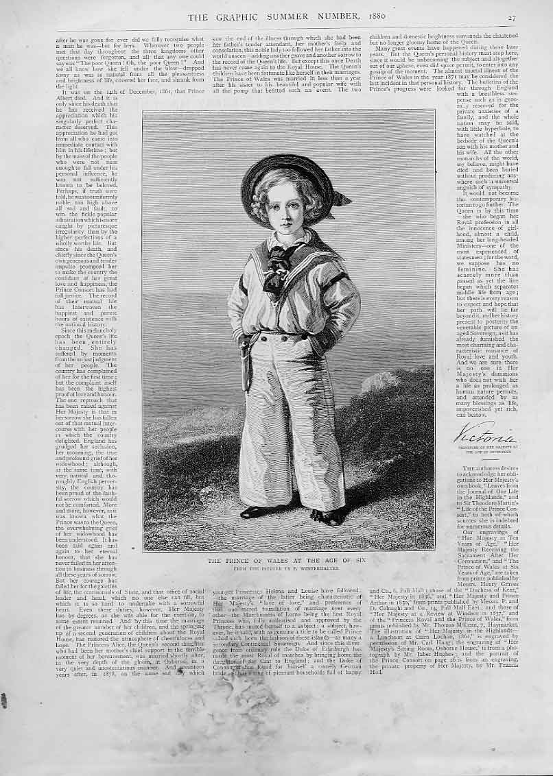 Print Prince Wales Aged Six Portrait 1880 27Bbb1 Old Original
