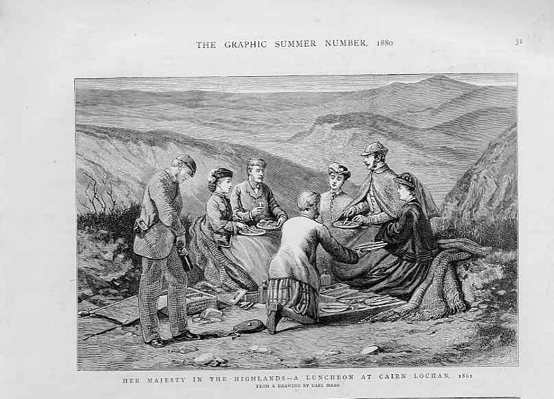 Print Queen 'S Lunch Cairn Lochan 1861 Highlands Scotland 31Bbb1 Old Original