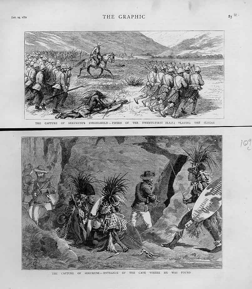 Print Capture Chief Sekukuni Africa 1880 85Ubbb1 Old Original