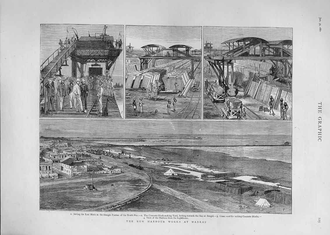 Print New Harbour Works Madras India 1880 25Bbb1 Old Original