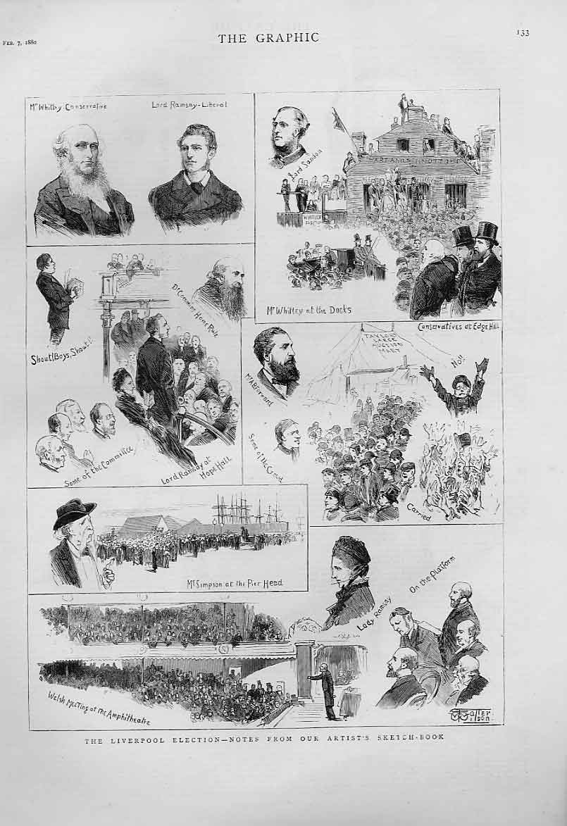 Print Liverpool Election 1880 Artists 33Bbb1 Old Original