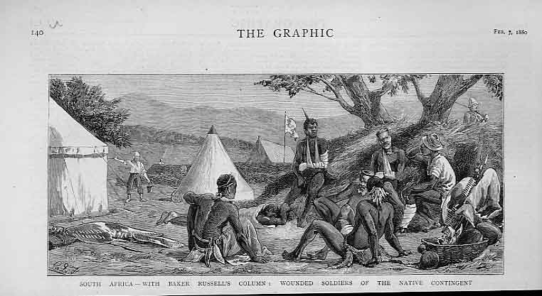 Print Baker Russell'S Column Wounded Natives 1880 Africa 40Ubbb1 Old Original