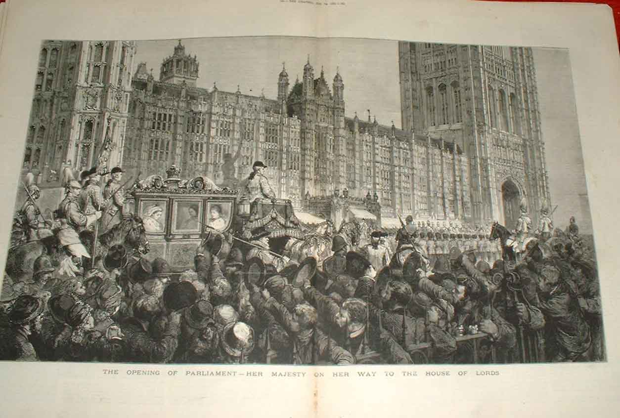 Print Openning Parliament Her Majesty On Way To Lords 1880 59Tbbb1 Old Original