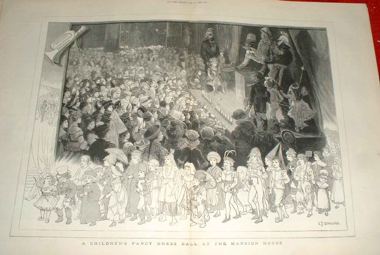 Print Childrens Fancy Dress Ball Mansion House London 1880 99Tbbb1 Old Original