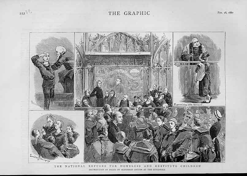 Print National Refuges Homeles & Destitute Children 1880 Lond 12Ubbb1 Old Original