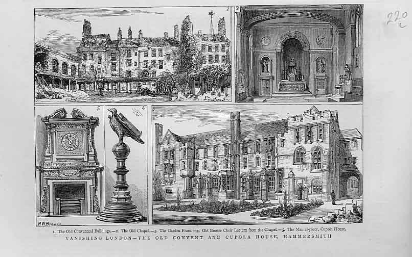 Print Convent & Cupola House Hamersmith London 1880 20Lbbb1 Old Original