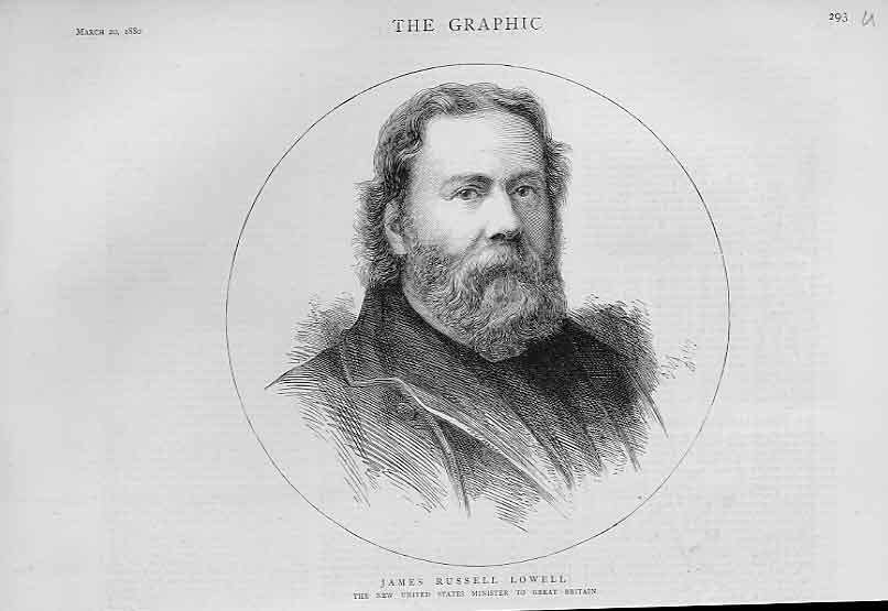 Print James Russell Lowell Usa Minister To Gb 1880 Portrait 93Ubbb1 Old Original