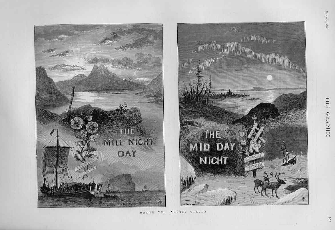 Print Under The Artic Circle Mid Night Day & Mid Day Night 01Bbb1 Old Original