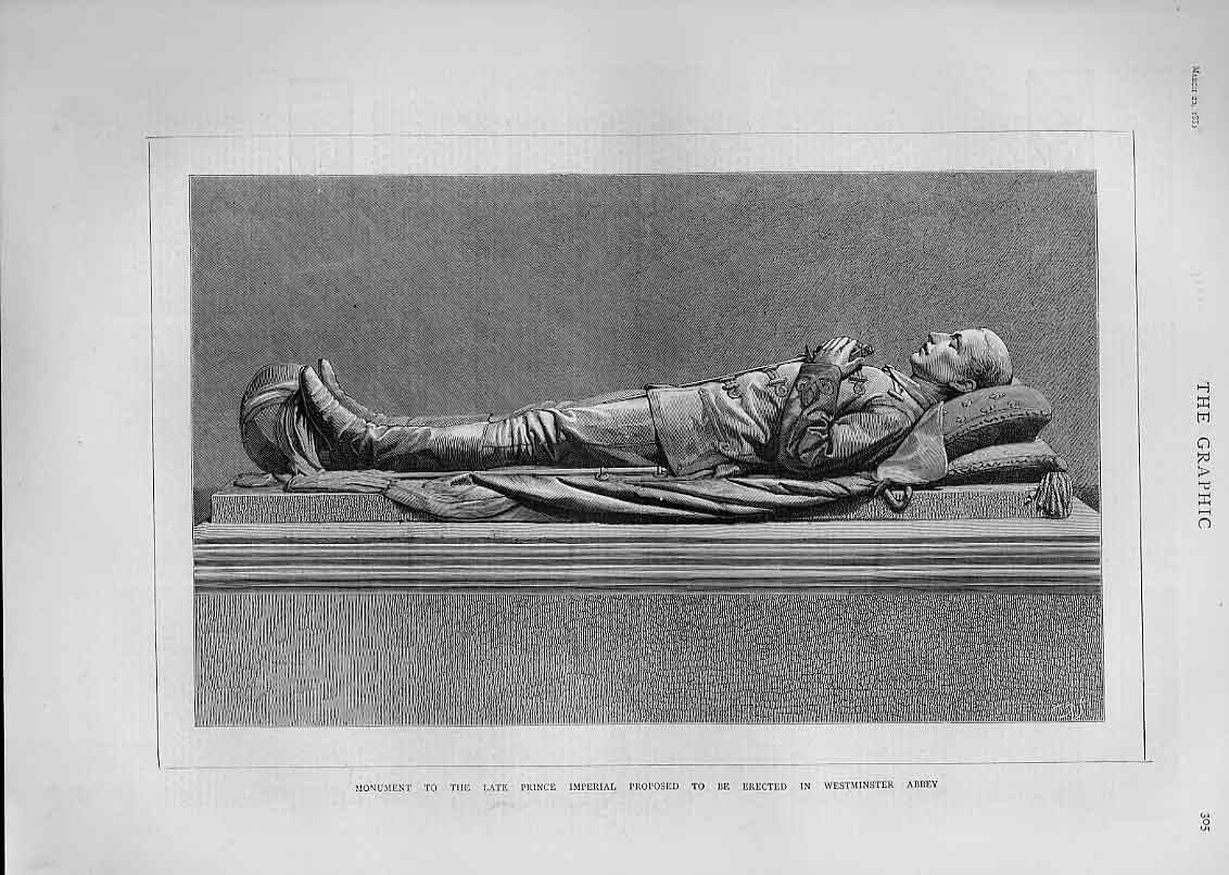 Print Monument To Prince Imperial For Westminister Abbey 1880 05Bbb1 Old Original
