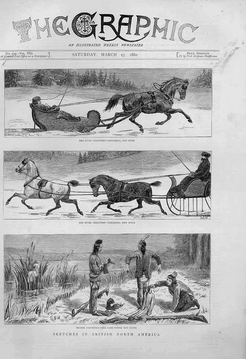 Print Red River Sleighing Bathing British North America 1880 14Bbb1 Old Original