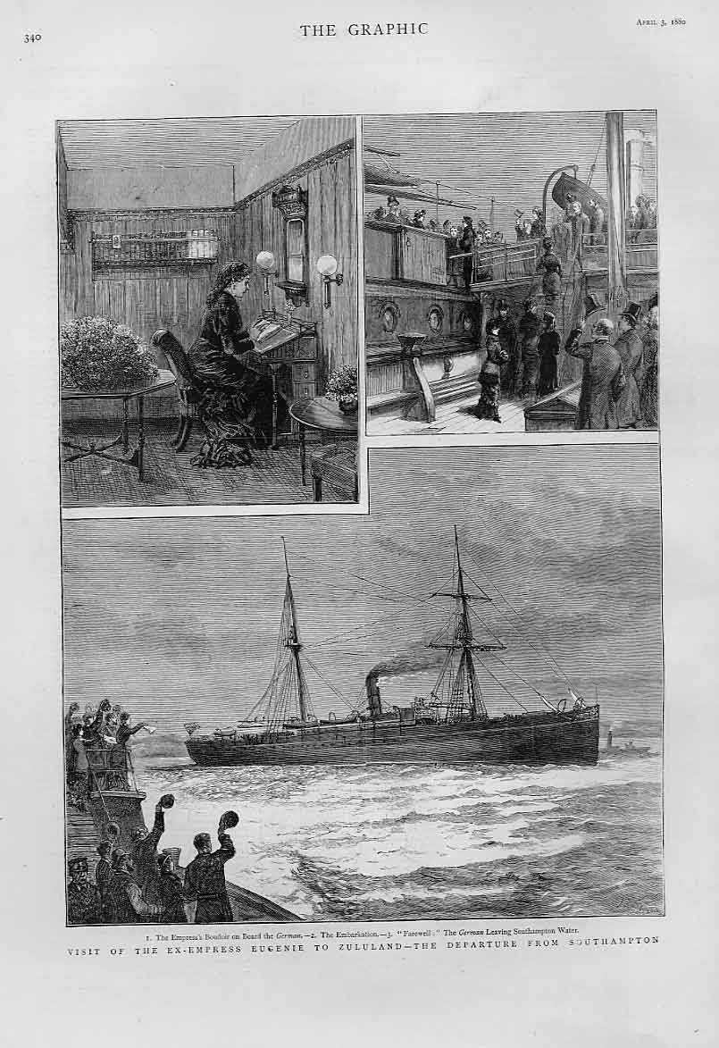 Print Departure Southampton Ss German With Princess Eugenie 40Bbb1 Old Original