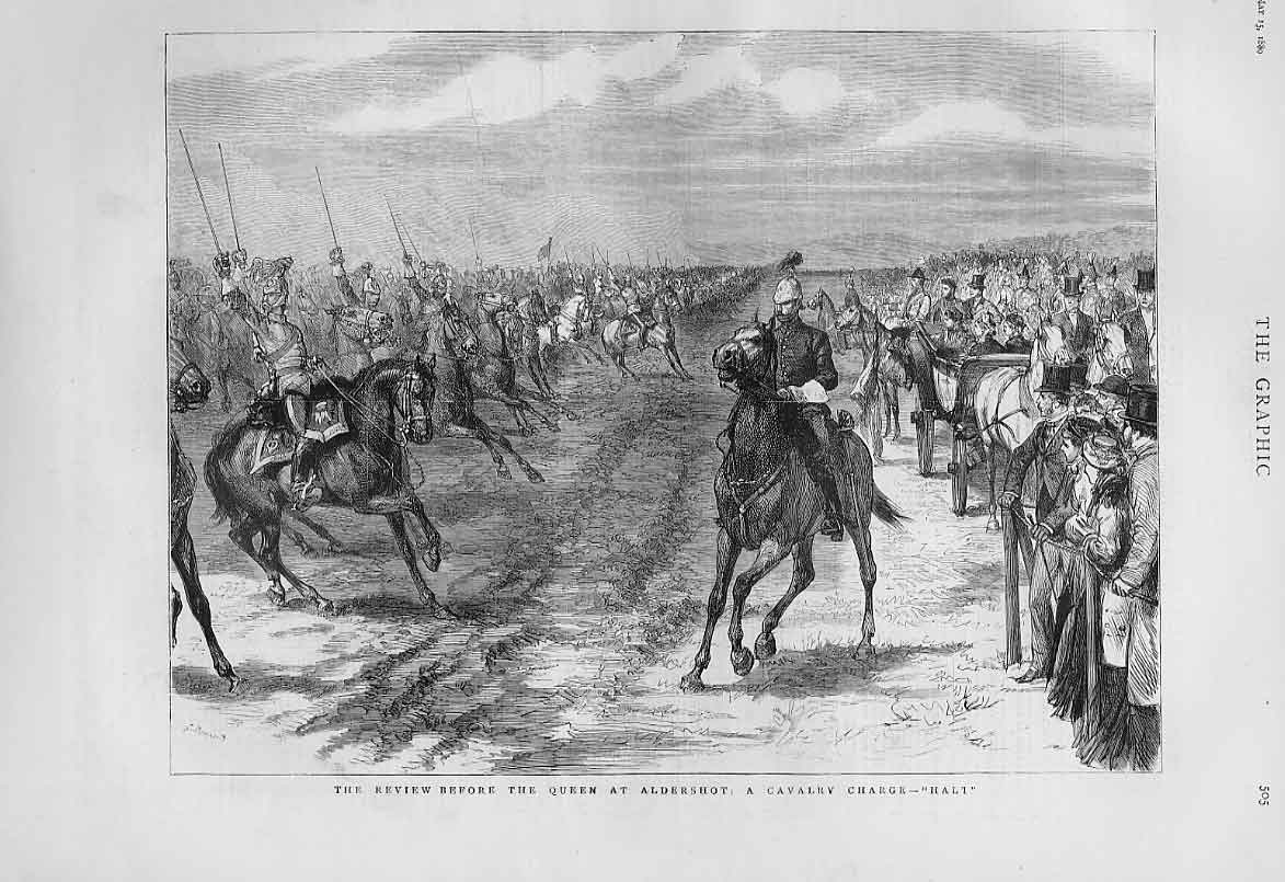 Print Cavalry Charge Aldershott Review 1880 Army 05Bbb1 Old Original