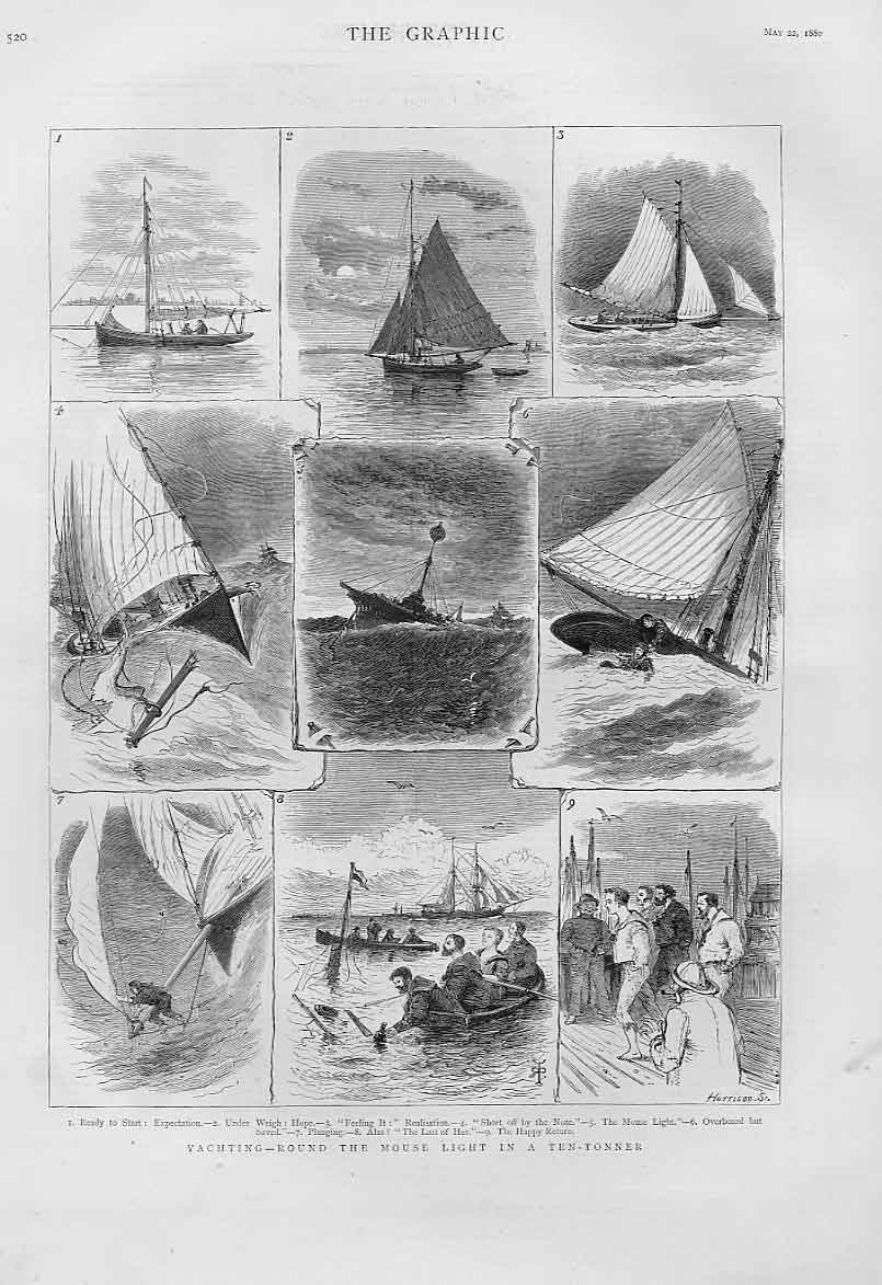 [Print Yachting Round Mouse Light In 10 Tonner 1880 Sailing 20Bbb1 Old Original]