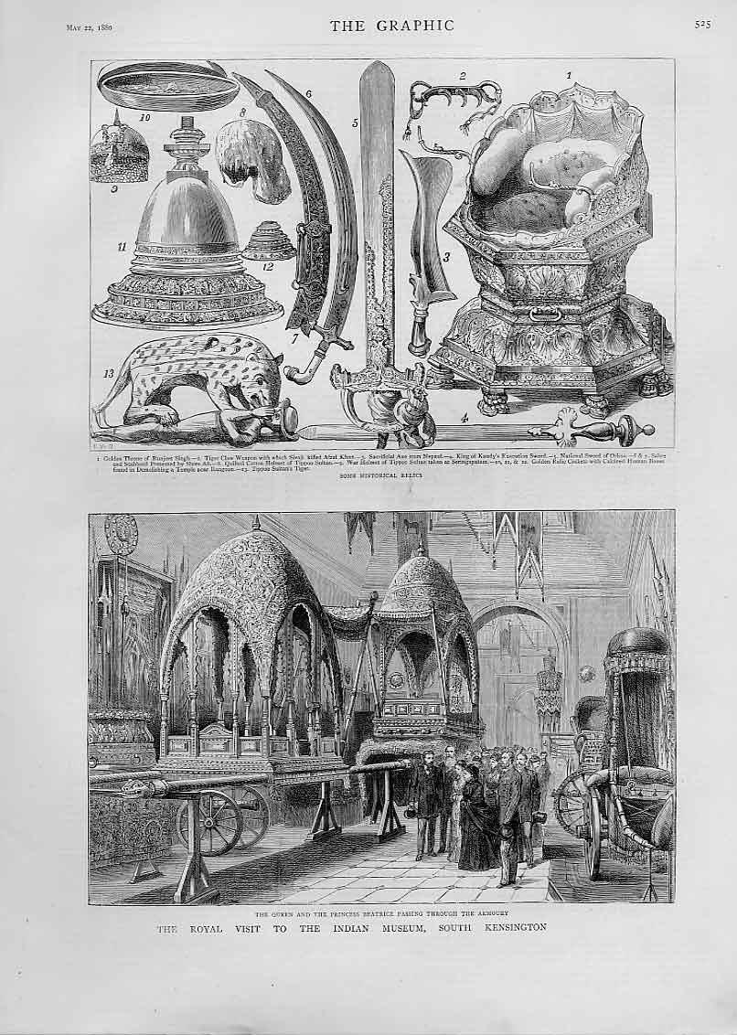 Print Historical Relics Indian Museum Kensington 1880 25Bbb1 Old Original