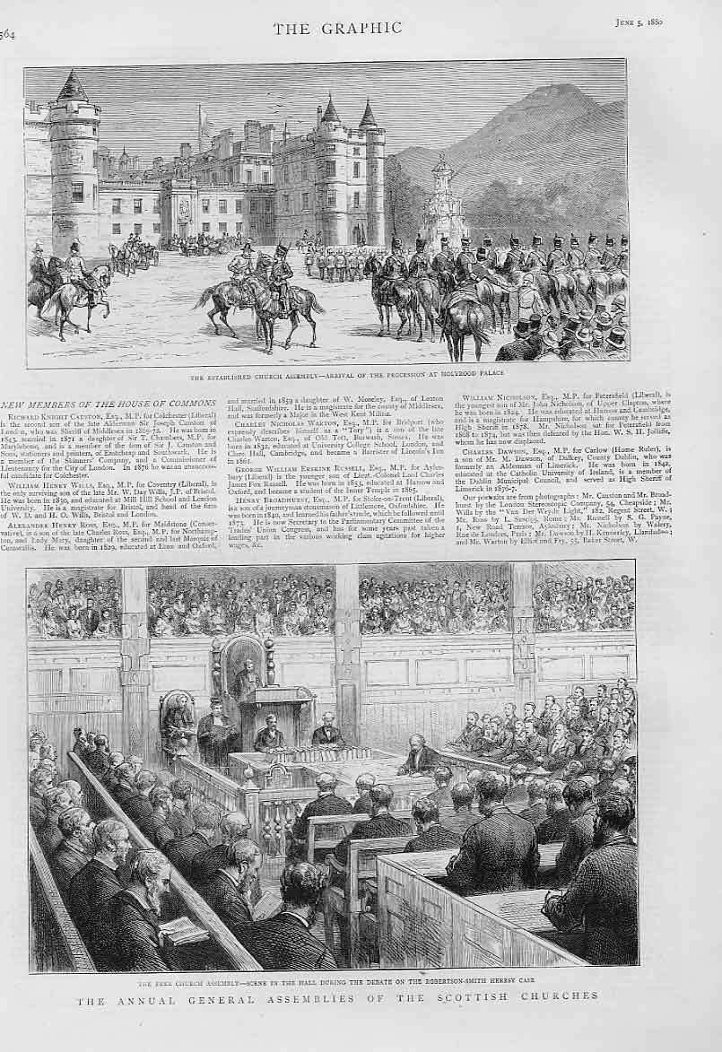 [Print Annuall Assemblies Scottish Churches Holyrood Edinburgh 64Bbb1 Old Original]