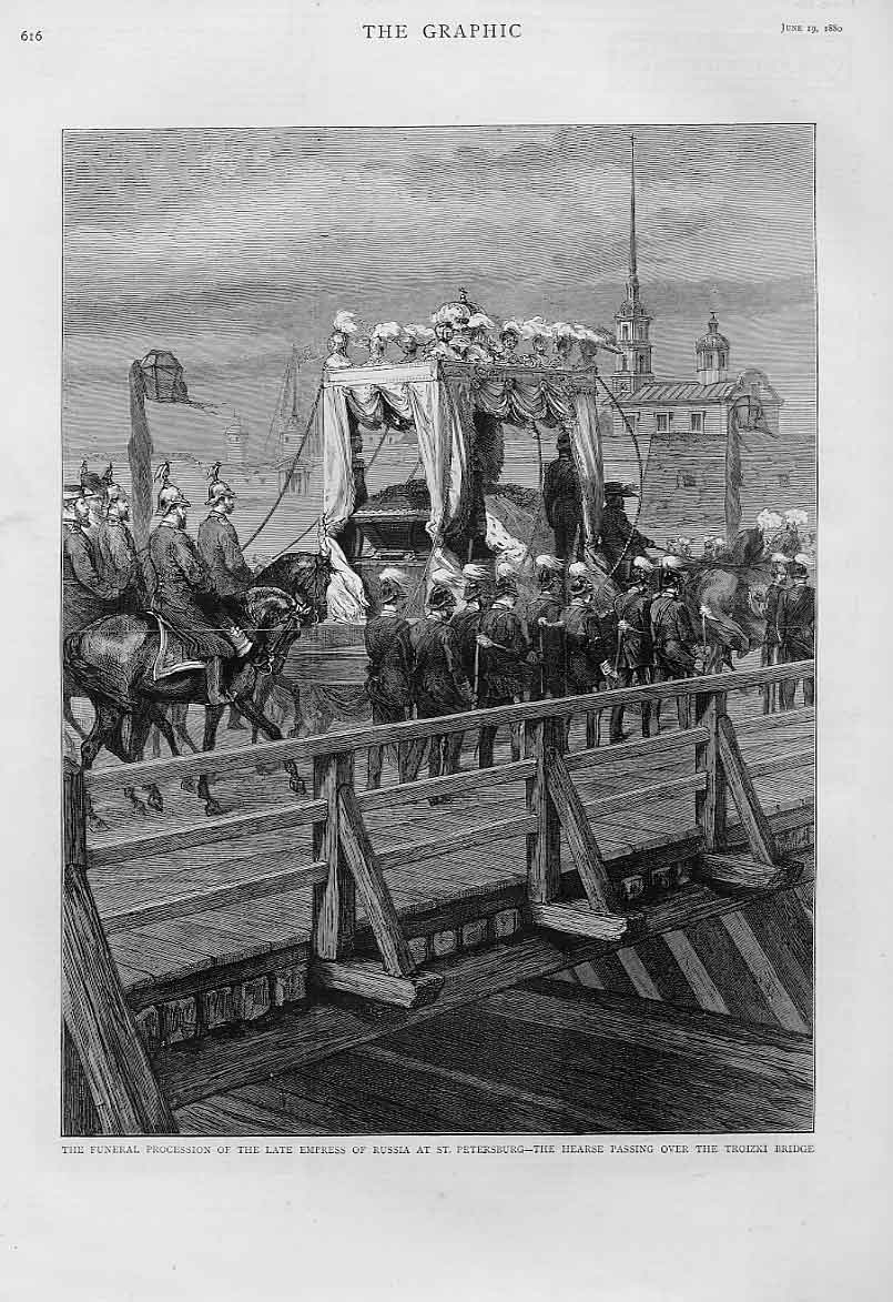 Print Troizki Bridge St Petersburg Funeral Empress Russia 18 16Bbb1 Old Original