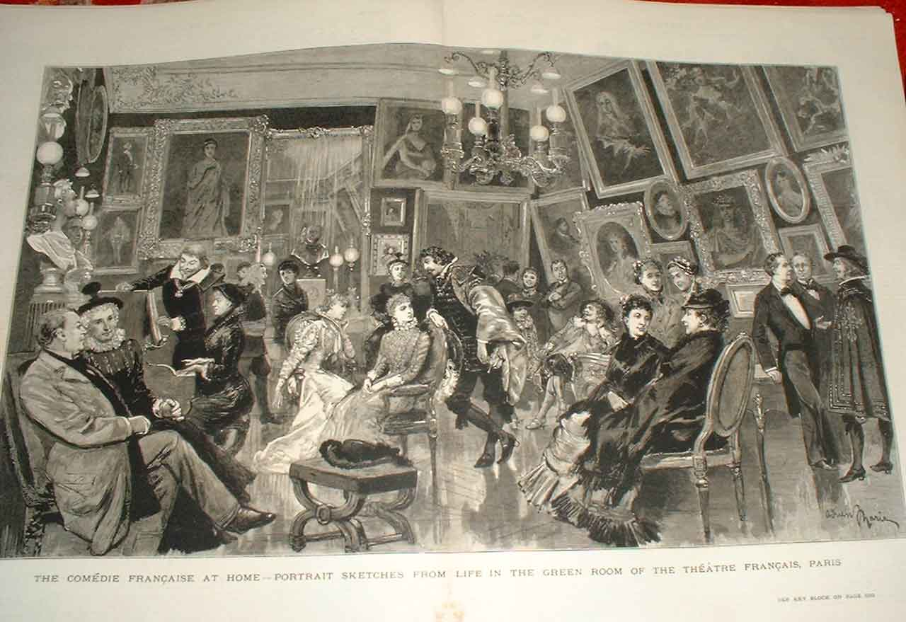 Print Life Green Room Theatre Francais Paris 27Tbbb1 Old Original