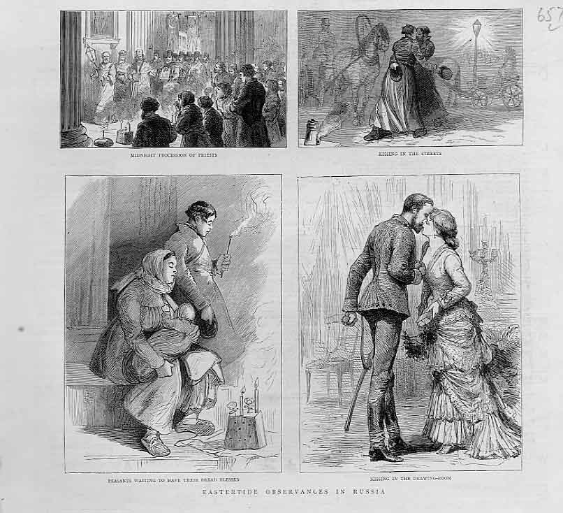 Print Easter In Russia 1880 Kissing In Streets 57Lbbb1 Old Original