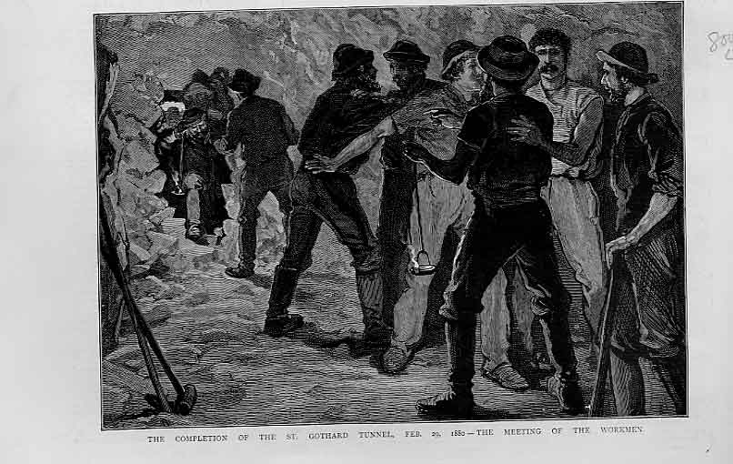 Print Workmen Meet Completion St Gothards Tunnel 1880 00Lbbb1 Old Original