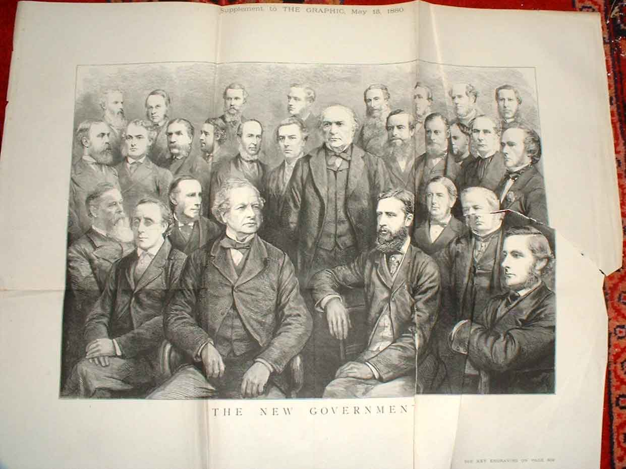 Print The New Government 1880 Large Double Page 02Tbbb1 Old Original