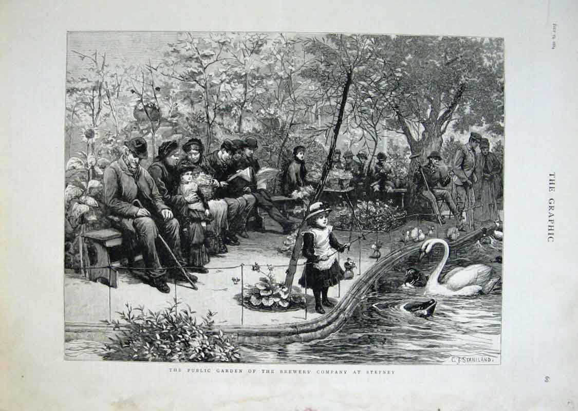 [Print Garden Brewers Company Stephney London 1884 69Bbb1 Old Original]