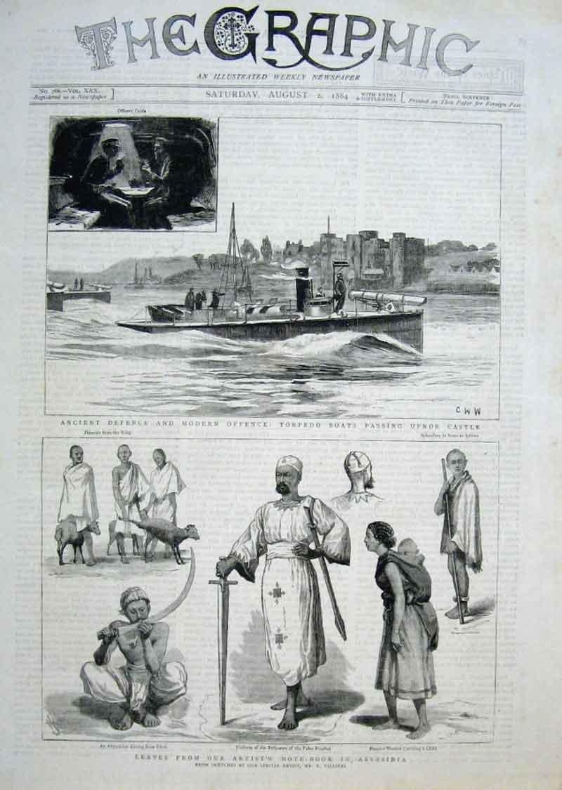 Print Torpedo Boats Sketches In Abyssinia 1884 98Bbb1 Old Original