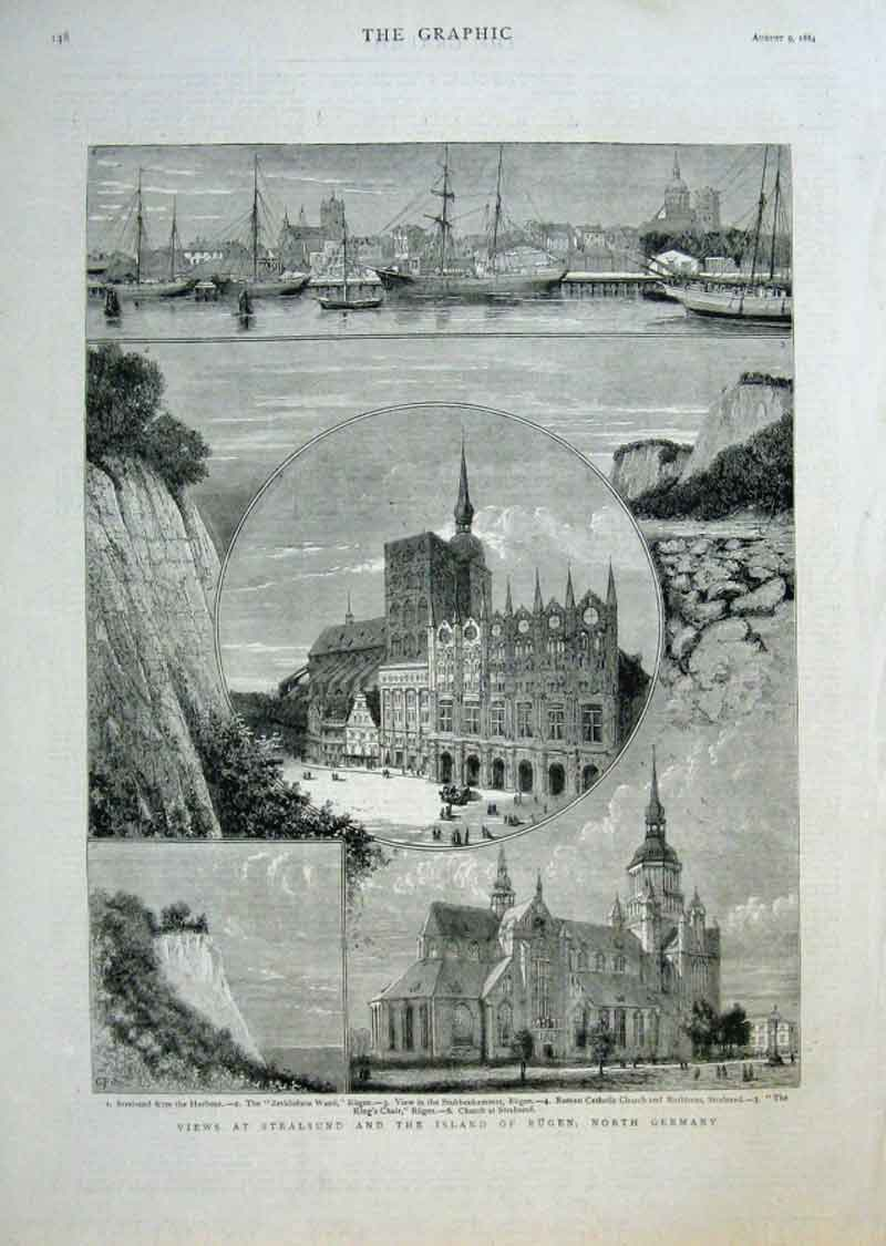 Print Views Stralsund & Rugen Germany 1884 48Bbb1 Old Original