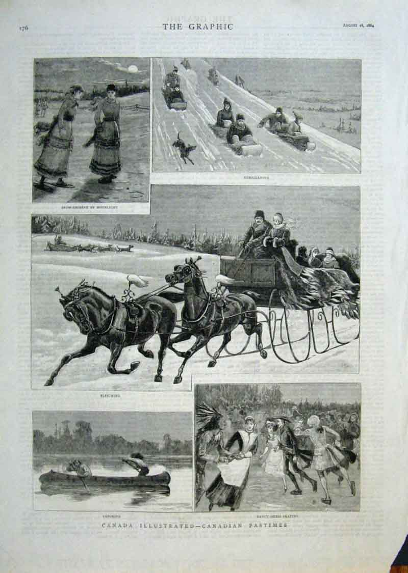 Print Canadian Pastimes 1884 Canada 76Bbb1 Old Original